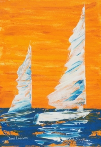 "Sail Boats, No. 3, Acrylic, 14""x11"", $125"