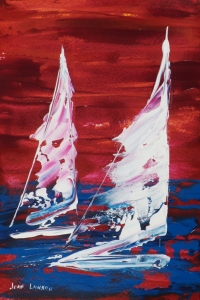 "Sail Boats, No. 4, Acrylic 14""x11"", $125"