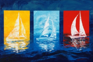 "Three Sail Boats, Acrylic on Wrapped Canvas, 24""x36"", $1200"